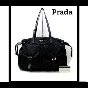 Prada Vela black nylon shoulder bag